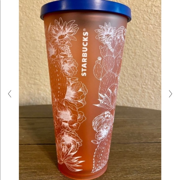 RARE! Starbucks Coral Floral Cactus Tumbler 24 oz